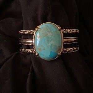 Studio Barse Turquoise Cuff Gold